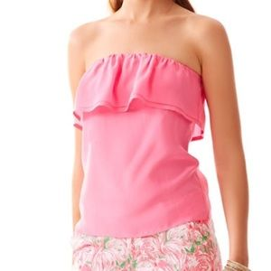 Lilly Pulitzer Pink Silk Ruffle Tube Top